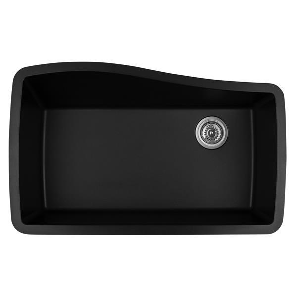 Karran 33.5-in Black Quartz Undermount Large Single Bowl Kitchen Sink