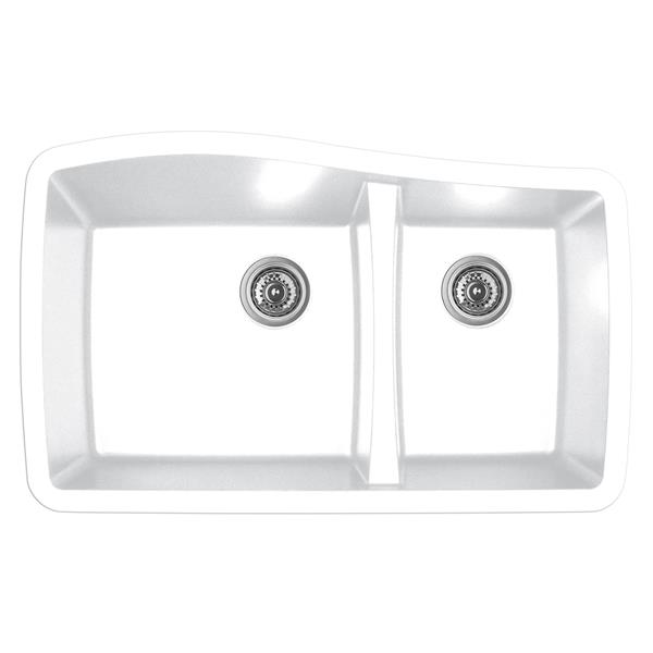 Évier de cuisine Karran 1-1/2, 33,5 po, quartz, blanc