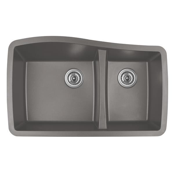 Karran 33.5-in Concrete Quartz 1.5 Kitchen Sink