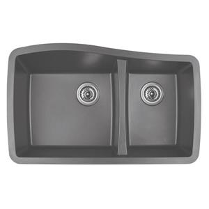 Karran 33.5-in Gray Quartz 1.5 Kitchen Sink