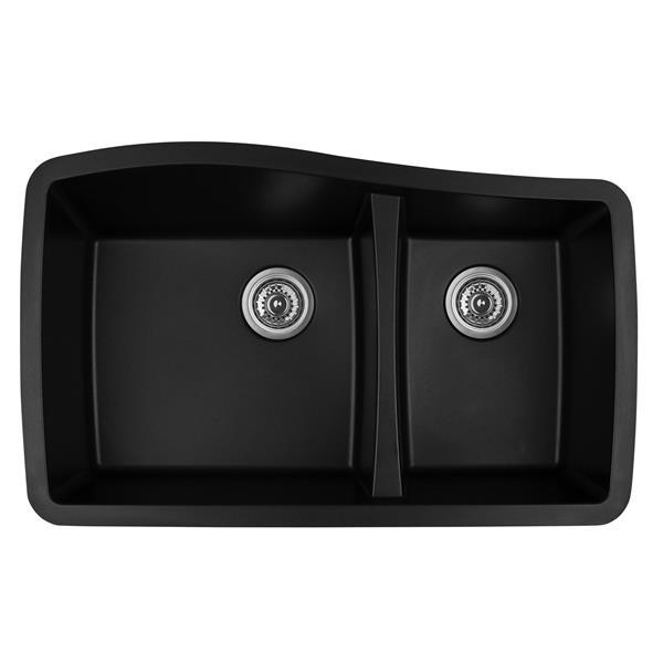 Karran 33.5-in Black Quartz 1.5 Kitchen Sink