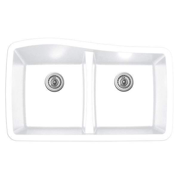 Évier de cuisine double Karran, 33,5 po, quartz, blanc