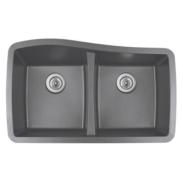 Karran Gray Quartz 33.5-in Double Kitchen Sink