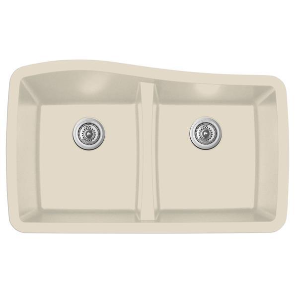 Karran Bisque Quartz 33.5-in Double Kitchen Sink
