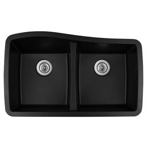 KARRAN Black Quartz 33.5-in Double Kitchen Sink