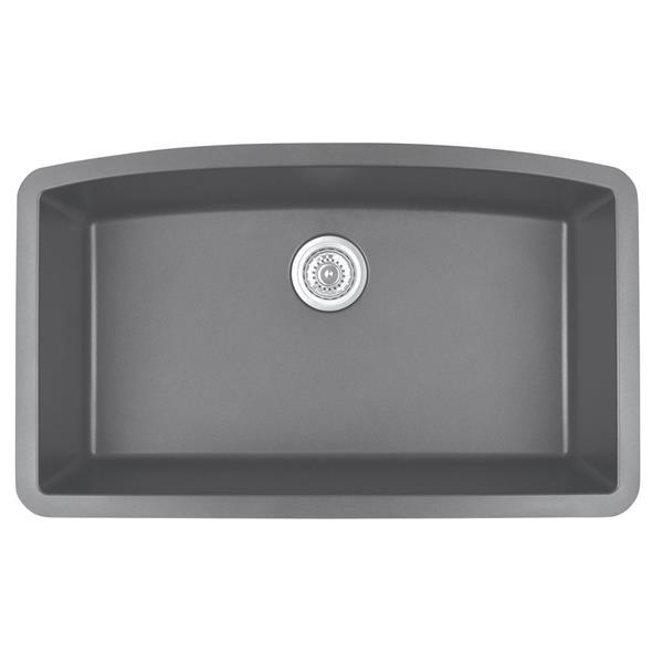 Decolav Karran 32.5-in Gray Quartz Undermount Large Single Bowl Kitchen Sink