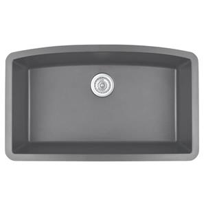 Karran 32.5-in Gray Quartz Undermount Large Single Bowl Kitchen Sink