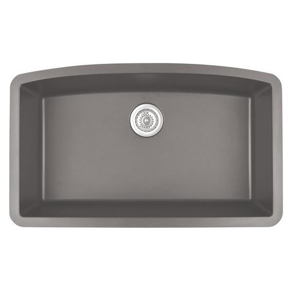 Decolav Karran 32.5-in Concrete Quartz Undermount Large Single Bowl Kitchen Sink