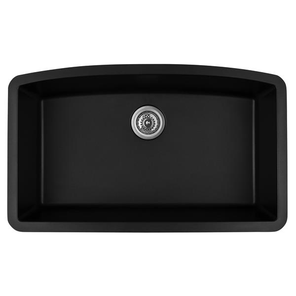 Karran 32.5-in Black Quartz Undermount Large Single Bowl Kitchen Sink
