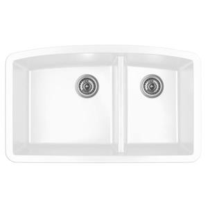 Decolav Karran 32.5-in White Quartz 1.5 Kitchen Sink