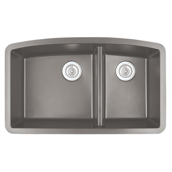 Évier de cuisine Karran 1-1/2, 32,5 po, quartz, acier