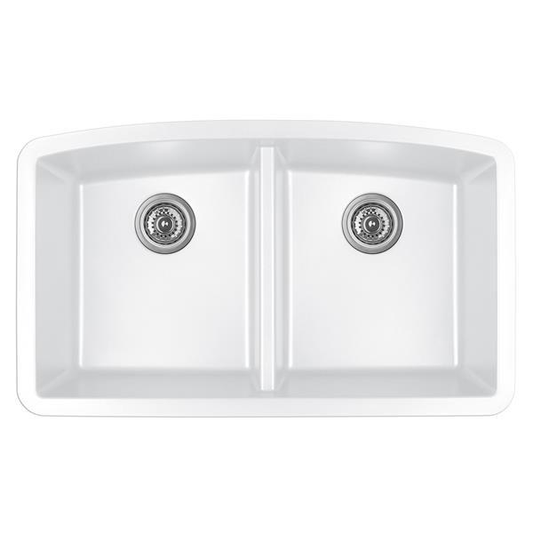 Karran White Quartz 32.5-in Double Kitchen Sink