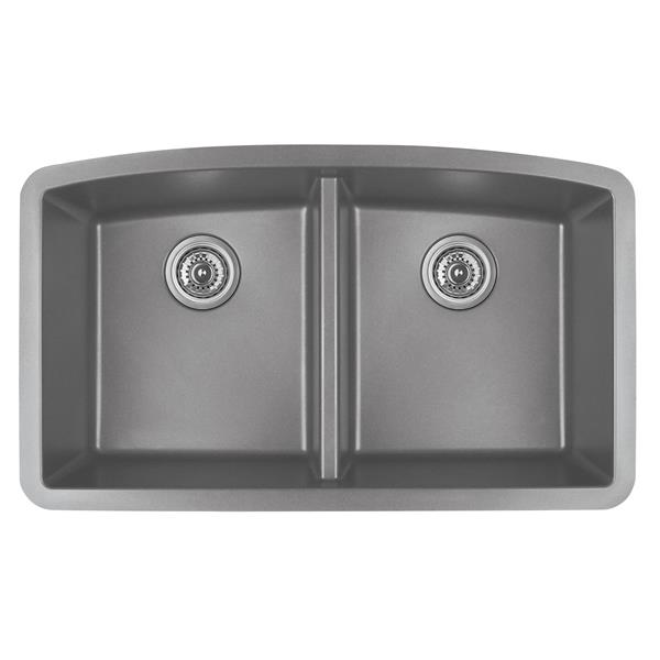 Karran Gray Quartz 32.5-in Double Kitchen Sink