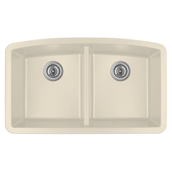 Karran Bisque Quartz 32.5-in Double Kitchen Sink