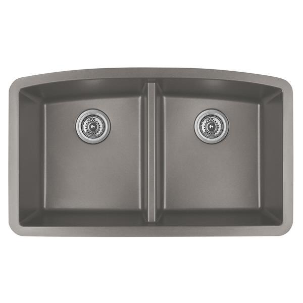 Karran Concrete Quartz 32.5-in Double Kitchen Sink