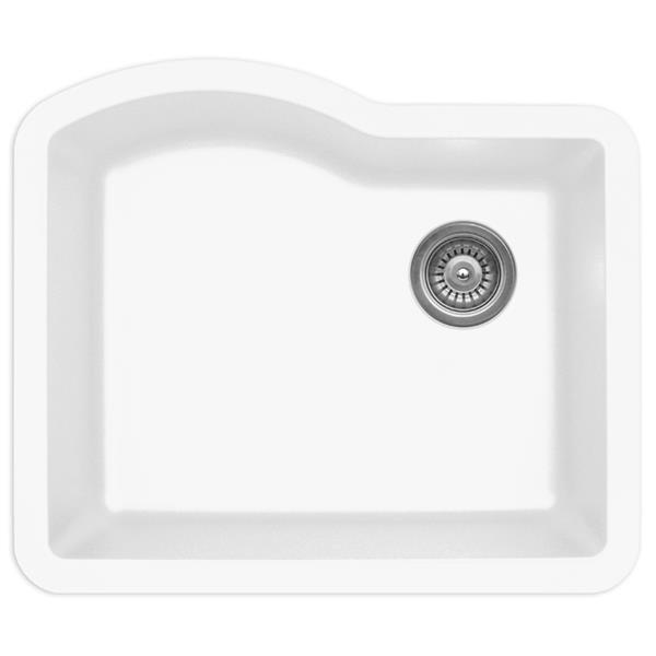 Karran 24-in White Quartz Composite Undermount Single Bowl Kitchen Sink