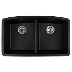 Karran Black Quartz 32.5-in Double Kitchen Sink