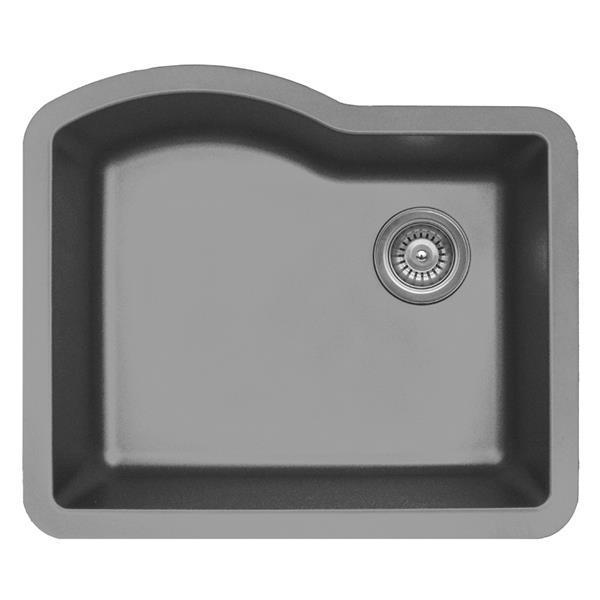 Évier de cuisine simple Karran, 24 po, quartz, gris