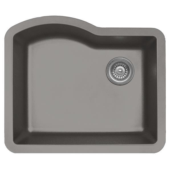 Karran 24-in Concrete Quartz Undermount Single Bowl Kitchen Sink