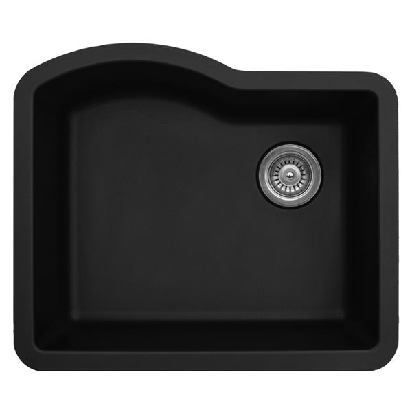 Karran 24-in Black Quartz Undermount Single Bowl Kitchen Sink