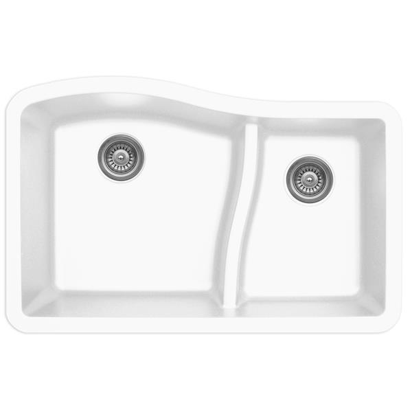 Évier de cuisine Karran 1-1/2, 32 po, quartz, blanc