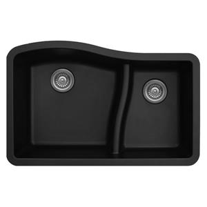 Karran 32-in Black Quartz 1.5 Kitchen Sink