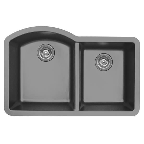 Évier de cuisine Karran 1-1/2, 32 po, quartz, gris