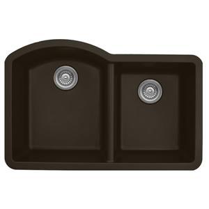 Évier de cuisine double Karran, quartz brun, 32 po