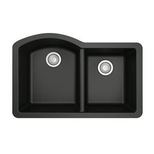 Karran 32-in Black Quartz 1.5 Kitchen Sink