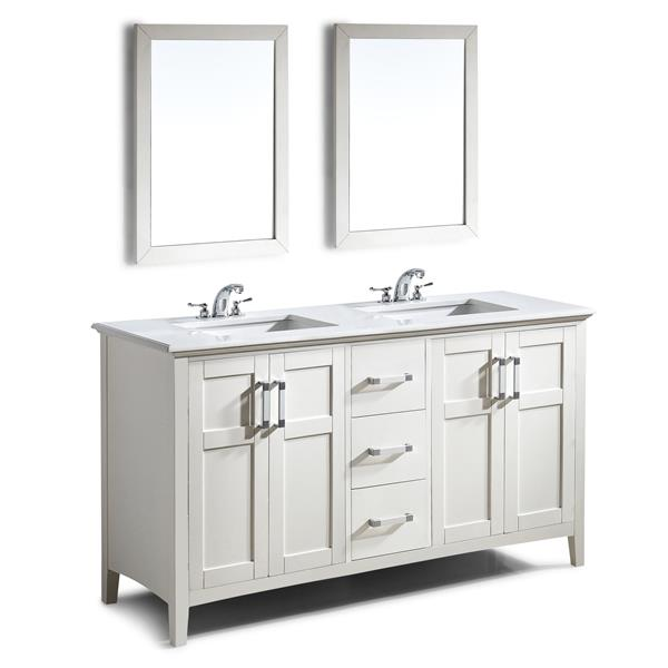 Simpli Home Winston 60-in Off-White Double Sink Bombay Quartz Marble Top Vanity