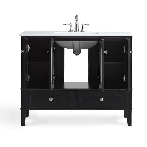 Simpli Home Chelsea 42-in Black Bathroom Vanity with Marble Top