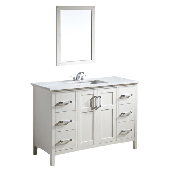 """Meuble-lavabo Winston, marbre quartz blanc, 48"""", blanc cassé"""