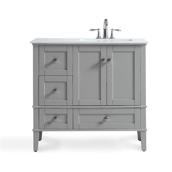 Simpli Home Chelsea 36 In Gray Bathroom Vanity With Marble Top Hhv029gr 36r Rona