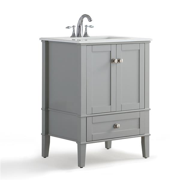 Simpli Home Chelsea 24-in Gray Bathroom Vanity with Marble Top
