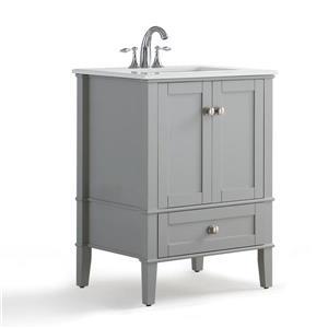 """Meuble-lavabo Chelsea, marbre en quartz blanc, 24"""", gris"""
