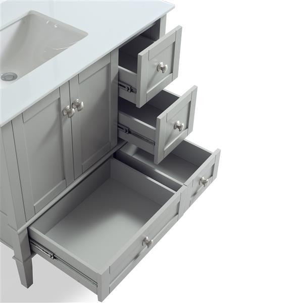 """Meuble-lavabo Chelsea, marbre en quartz blanc, 36"""", gris"""
