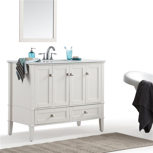 Simpli Home Chelsea 42-in Off White Bathroom Vanity with Marble Top
