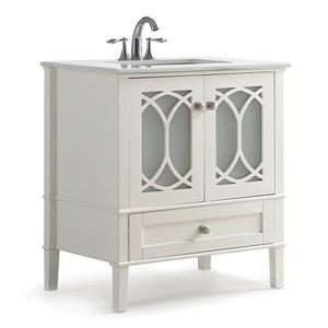 """Meuble-lavabo Paige, marbre quartz blanc, 30"""", blanc cassé"""