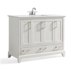Meuble-lavabo Elise, marbre quartz blanc, 42