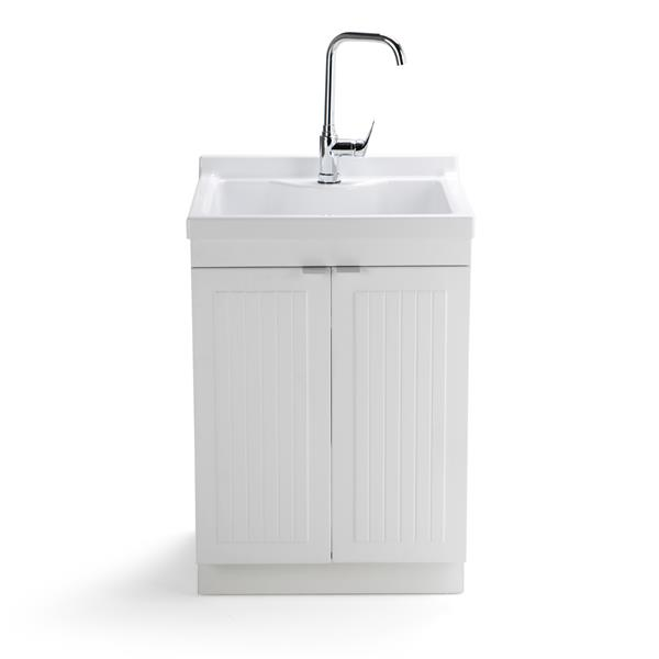 Simpli Home Murphy 24-in White Laundry Cabinet with Sink
