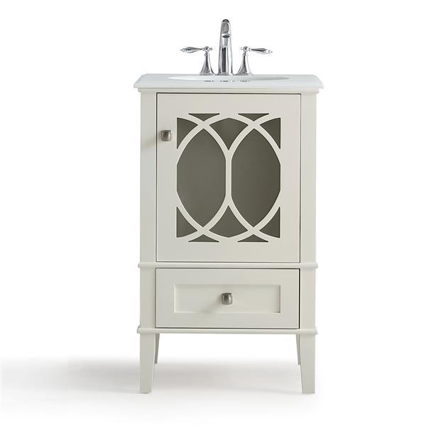 """Meuble-lavabo Paige, marbre quartz blanc, 20"""", blanc cassé"""