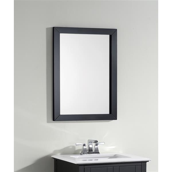 Simpli Home Winston 22-in x 30-in Black Bathroom Mirror