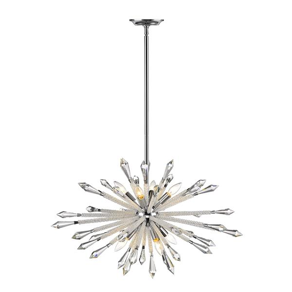 Z-Lite Soleia 31.5-in Chrome And Crystal 8-Light Pendant