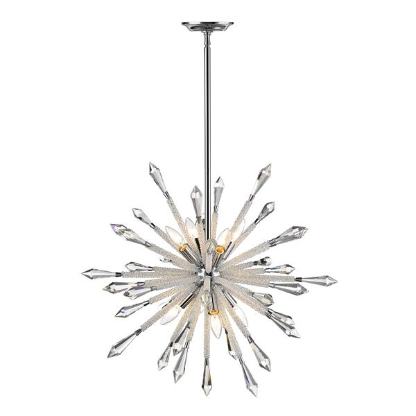 Z-Lite Soleia 26.62-in Chrome And Crystal 8-Light Pendant