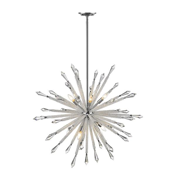 Z-Lite Soleia Chrome And Crystal 10-Light Chandelier