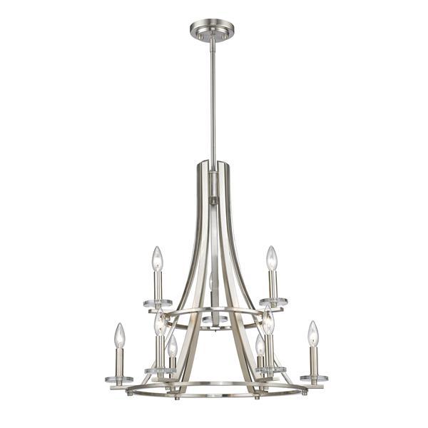 Z-Lite Verona 25-in x 25-in x 27-in Brushed Nickel 9-Light Chandelier