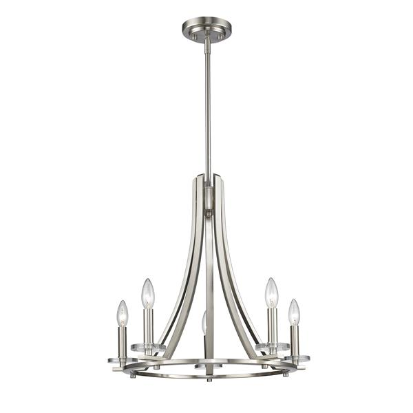 Z-Lite Verona 22-in x 22-in x 20.75-in Brushed Nickel 5-Light Chandelier