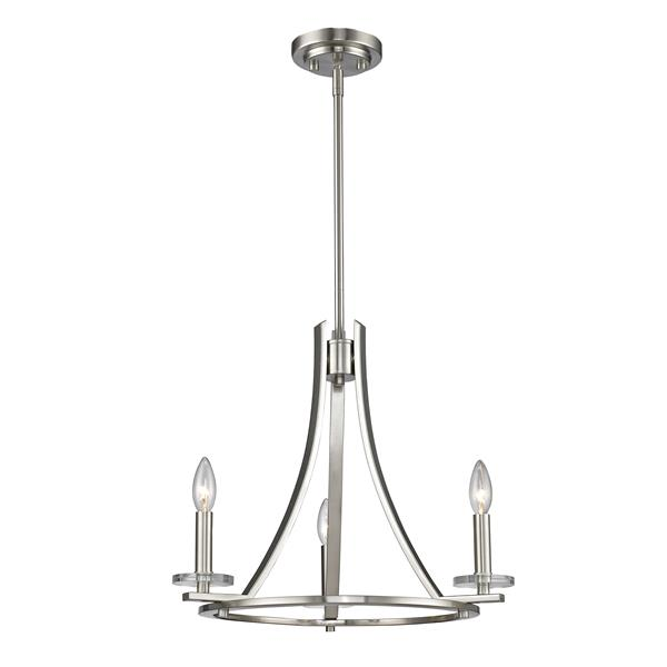 Z-Lite Verona 20-in x 20-in x 17-in Brushed Nickel 3-Light Chandelier