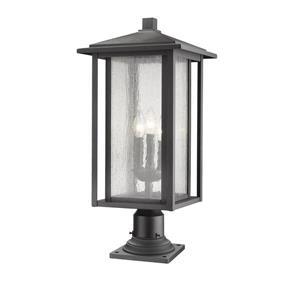 Luminaire extérieur sur socle Aspen, 3 lumières, Noir