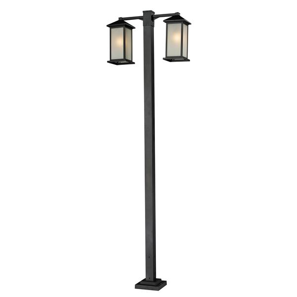 Z-Lite Vienna 2 Head Outdoor Post - Black - 30-in x 8-in x 99-in